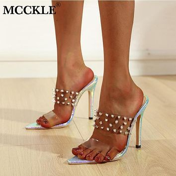 MCCKLE New Women Rivets Slipper Woman Transparent Thin High Heels Female Shoes Ladies 2020 Fashion Pointed Toe Shoes