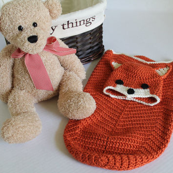 Baby Crochet Cocoon - Baby Swaddle Sack - Fox Cocoon - Orange