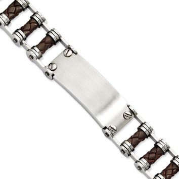 Men's Stainless Steel and Brown Leather ID 9 Inch Bracelet
