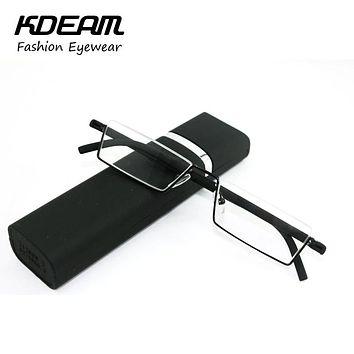 TR-90 Half Metal Frame Slim Portable Compact Reading Glasses Anti Eye Fatigue With Box Strength