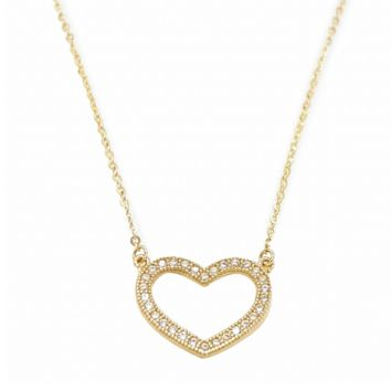 Heart Corazon Real 14K Solid Yellow Gold Necklace
