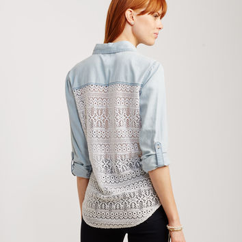 Sheer Long Sleeve Lace-Back Woven Shirt