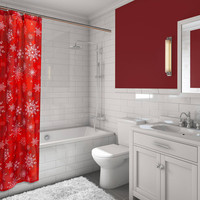 Santa's Sleigh 16-Piece Bath Set: 1 Shower Curtain, 12 Fabric Covered Hooks, 1 Lotion Pump and 2 Hand Towels - Holiday Snow