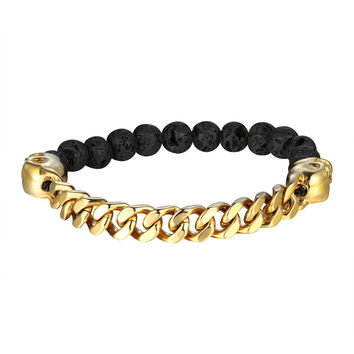 Miami Cuban Bracelet Black Lava Stone Bead Links Gold Plated