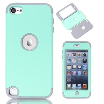 Multi Colors Impact Hard & Soft Silicone Hybrid Shockproof Case Cover For iPod Touch 5 6th Generation w/Screen Film+Stylus Pen