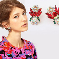 Fashion Jewelry Elegant Golden Colorful Crystals Earrings Studs
