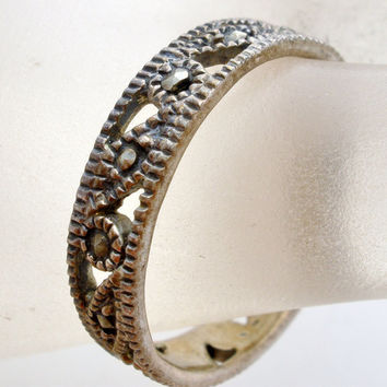 On Sale Sterling Silver Marcasite Ring Vintage Size 8 Band Antiqued