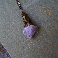 Natural Rough Tourmaline Briolette Necklace,  Purple Gray AAA Gemstone Charm Bronze Long Layered Necklace, Boho Minimal Trendy jewelry Gift