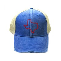 Texas Trucker Hat - Distressed Snapback - State Outline