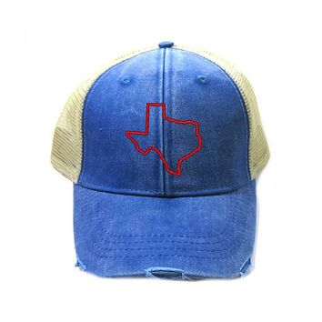 Texas Hat - Distressed Snapback Trucker Hat - Texas State Outline - Many Colors Available