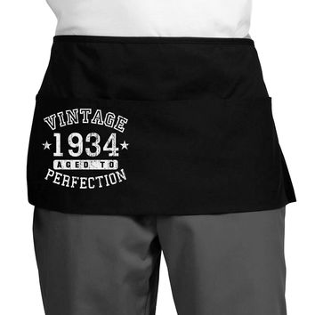 Vintage Birth Year 1934 Dark Adult Mini Waist Apron, Server Apron