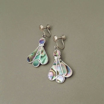 SIGNED Vintage Mexican STERLING Silver EARRINGS Mosaic Pearl Fan Dangles Iguala Mexico Hallmarked c.1950s