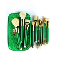 New 15PCS Makeup Brushes Foundation Powder Blush Eyeshadow Make Up Brushes Green Makeup Brush Set With Bag