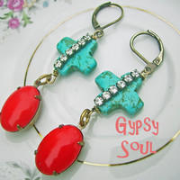bohemian earrings - Shabby Southern Gypsy Cowgirl Turquoise and vintage cherry red - antique brass - statement Jewelry - Gypsy Soul