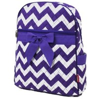 Purple & White Chevron Print Quilted Backpack