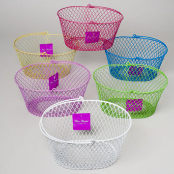 Wire Handled Basket Oval Pe Coated Wire Mesh 6 Colors Case Pack 36