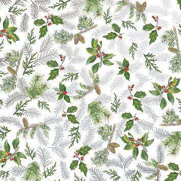 Bulk Ream Roll Christmas Gift Wrap Wrapping Paper, Glistening Pine