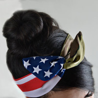 American flag Camo Dolly bow headband, Army American Flag head band, hair bow, A1