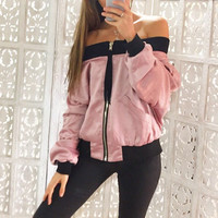 Ivy Off Shoulder Bomber Jacket