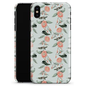 The Coral Flower and Hummingbird All Over Pattern - iPhone X Clipit Case