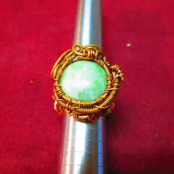 Handcrafted Copper & Brass Amazonite Wire Wrapped Ring Working Artists Team