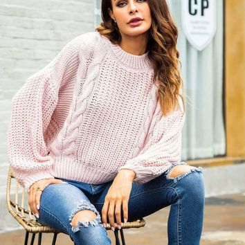 Jbellan Cut Out Back Cable Knit Jumper