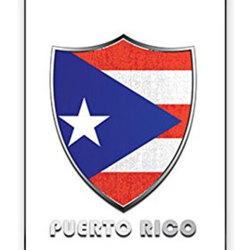 Premium Puerto Rico Flag Badge Direct UV Printed (not a sticker) iPhone 4, 4s Quality TPU SOFT RUBBER Snap On Case for iPhone 4 - AT&T Sprint Verizon - White Case