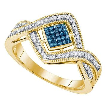 10kt Yellow Gold Women's Round Blue Color Enhanced Diamond Square Frame Twist Cluster Ring 1/6 Cttw - FREE Shipping (US/CAN)