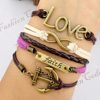 Love Infinity Faith & Anchor BraceletAntique by TheGiftoftheMagi