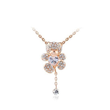 Diamond Teddy Bear Pendant Necklace