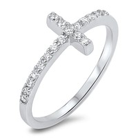 Cross with Crystals Ring
