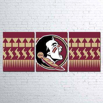 3 PIECE Florida State Seminoles Wall Art on CANVAS Man Cave
