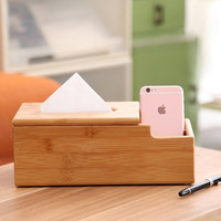Wooden Tissue Box Holder With Desk Organizer