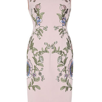 Pink Flowers Embroidered Sheath Dress