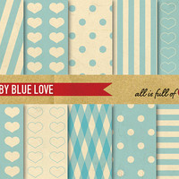 Digital SCRAPBOOKING Paper Pack Retro Baby Blue LOVE with INSTANT Download