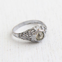 Antique Art Deco Silver Tone Rhinestone Ring - Vintage Size 8 Clear Glass Stone Costume Jewelry / Faux Diamond Solitaire