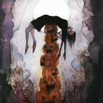 Dance on the Totem of Jack-o'-Lanterns (print of an original painting by Sophia Rapata)