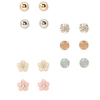 FOREVER 21 Flower Rhinestone Stud Set Peach/Mint One