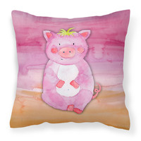 Pig Watercolor Fabric Decorative Pillow BB7416PW1414