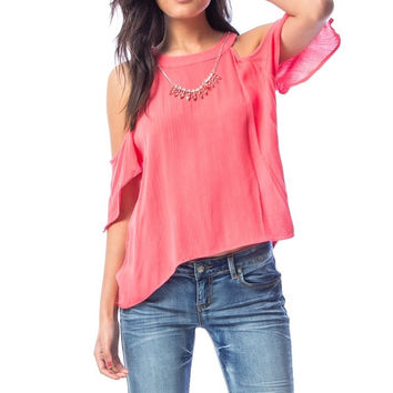Cold Shoulder Woven Top with Necklace in Coral