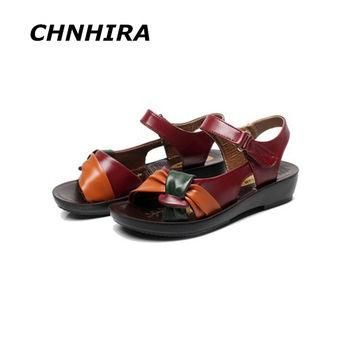 2016 summer shoes flat sandals women aged leather flat with mixed colors fashion sanda