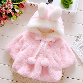 Winter Coat Lovely Solid Fashion Kids Baby Girls Clothes Children Clothing Fur Ball New Fresh Rabbit Hat Coats Costume MU935093
