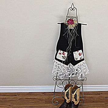 Women's Shabby Chic Vest   Junior Clothing   Ladies Lace Clothes   Gypsy Top