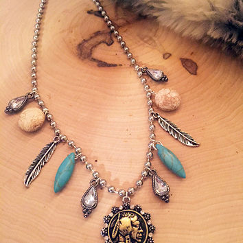 indian head coin necklace | indian head penny | coin necklace | bohemian teal stone jewelry | indian jewelry | gypsy jewelry | gold coin