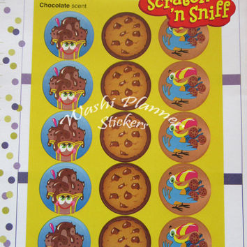 Chocolate Scented Stickers, Planner Decoration, Planner Stickers, Erin Condren Life Planner, Plum Paper Planner, Scratch and Sniff Stickers