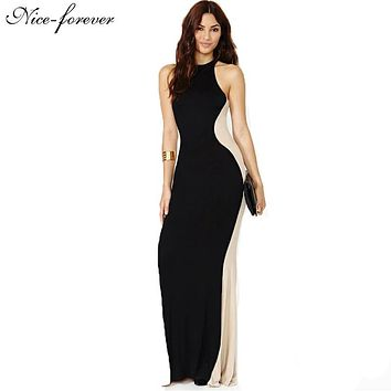 Nice-forever Long Robe maxi dress Individual Optical Illusion Patchwork Polyester Sleeveless Stylish Party Ball Dresses bty639