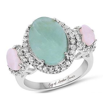 SALE  Vintage 4.76CT Natural Milky Aquamarine Pink Opal White Topaz Halo Engagement Ring
