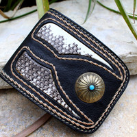 Snake skin leather wallet handmade copper turquoise stone crafted purse boho ethnic free shipping