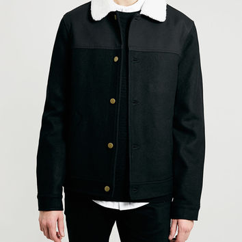 BLACK WOOL blend WESTERN JACKET - Men's Jackets & Coats - Clothing - TOPMAN USA