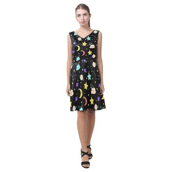 Moon Stars Sleeveless Pleated Dress